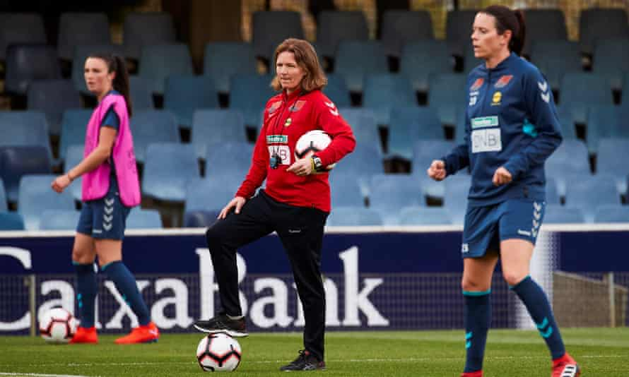 Hege Riise, pictured taking an LSK Kvinner training session in 2019, faces Northern Ireland in her first game as England manager.