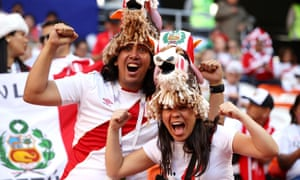 Peru fans enjoy the World Cup finals atmosphere before their team's opening game against Denmark in Saransk.