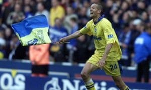 Junior Lewis celebrates after Gillingham's extra-time win against Wigan at Wembley in 2000.