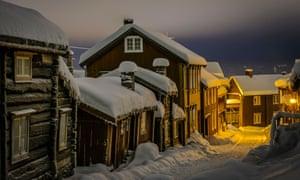 View of Sleggveien at UNESCO world heritage site Roros, Norway in winter.