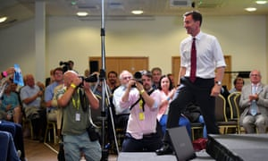 Jeremy Hunt arrives to speak at a hustings in Exeter on Friday. Conservative voters perceive his leadership campaign as organised and professional, but a fifth think it is boring, latest polling found.