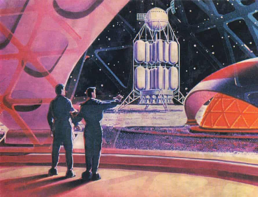 Postcard on the First Lunar Cosmodrome, by Andrey Sokolov and Aleksey Leonov (1968)
