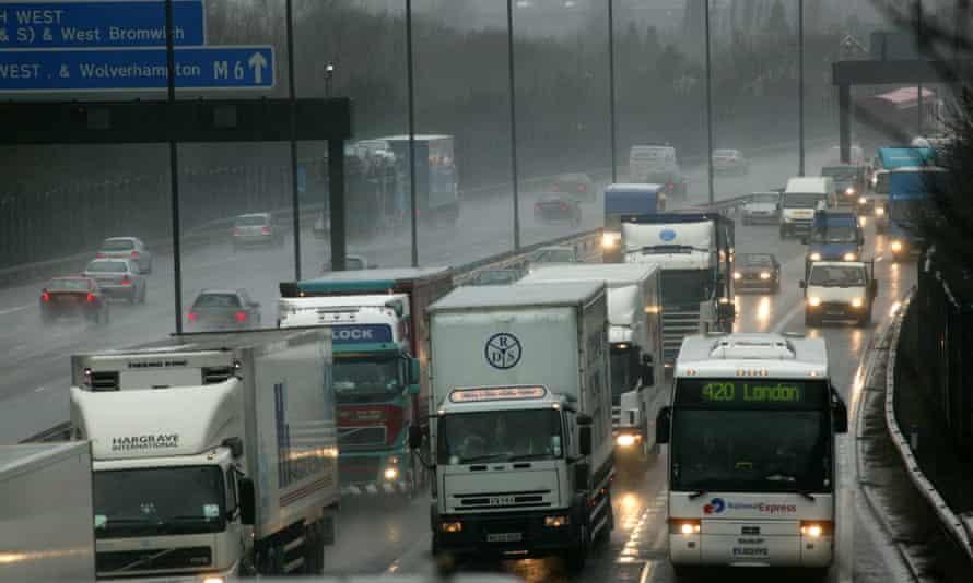Morning traffic on the M6 through Birmingham