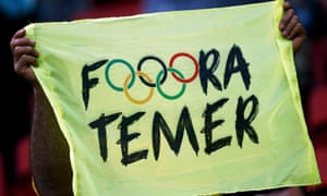 A banner reading 'Out Temer'