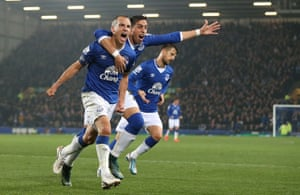 Leon Osman celebrates scoring in the Capital One Cup against Norwich in 2015.