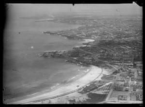 Aerial view of Bondi Beach, Sydney, looking south, 1930