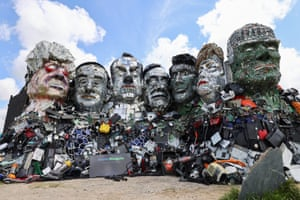 'Mount Recyclemore', an artwork depicting the G7 leaders looking towards Carbis Bay, where the G7 summit will be held.