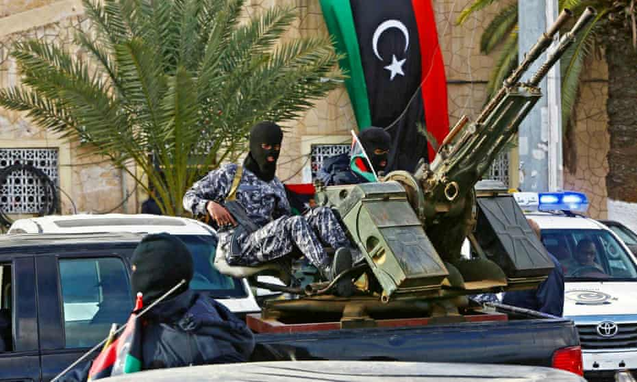 Libyan soldiers gather at Martyrs Square before being deployed to secure Tripoli, Libya.