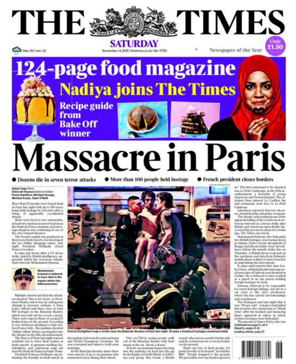 deadly attacks in paris today 39 s front pages in pictures world news the guardian. Black Bedroom Furniture Sets. Home Design Ideas