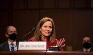 Amy Coney Barrett answers questions during her confirmation hearing before the Senate Judiciary Committee at the Hart Senate Office Building in Washington, DC.