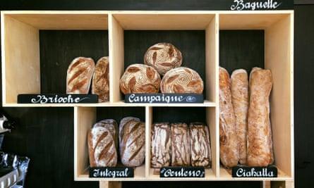 Selection of bread at Minuit Pan & Coffee, Granada, Spain