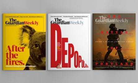 Guardian Weekly covers 31 July 2020, left to right, Australian edition; global edition and North America edition