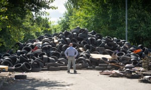 A huge pile of tyres in a street in Drumchapel, Glasgow, which built up during lockdown.