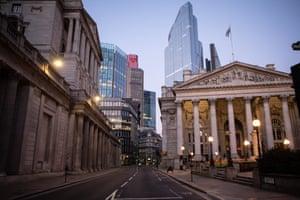 Threadneedle Street at dusk during the coronavirus lockdown.