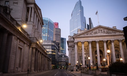The Bank of England on Threadneedle Street during the lockdown.
