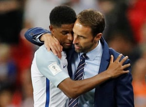 Rashford gets a hug from Southgate as he is substituted.