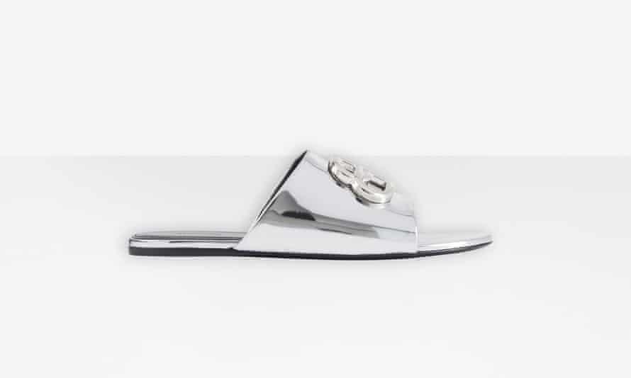 Silver Balenciaga slides