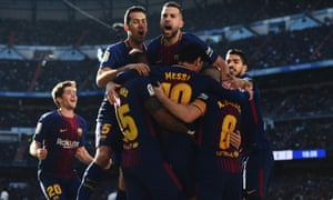 Lionel Messi and his Barcelona team-mates.
