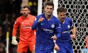 Christian Pulisic celebrates scoring Chelsea's second with Cesar Azpilicueta.