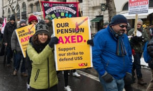 University staff march across central London last month in protest against  pensions cuts