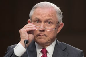 Jeff Sessions pauses during his testimony