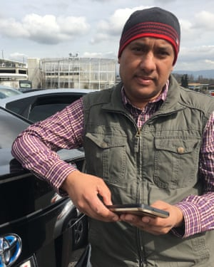 Navneet Singh, a pro-union Uber driver in Seattle, at the airport parking lot.