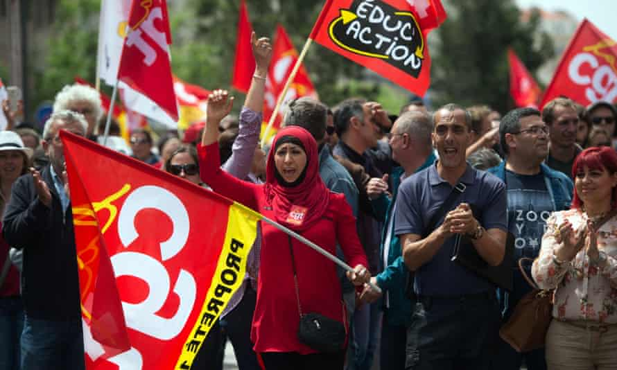 CGT union members on the street in Marseille.