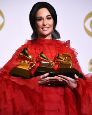 Kacey Musgraves with her four awards.