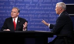 Tim Kaine and Mike Pence debate at Longwood University.
