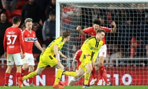 Jake Hesketh (right) celebrates scoring Burton Albion's goal which was decisive as they beat Middlesbrough 1-0.