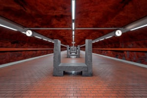 Skarpnäck metro station on the Stockhom T-Bana. The granite seats are very reminiscent of Stonehenge.