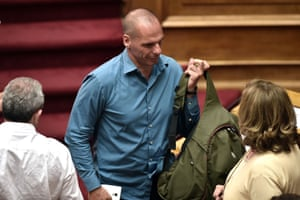 Former Greek Finance Minister Yanis Varoufakis leaves a parliament session in Athens on July 15, 2015. AFP PHOTO / ARIS MESSINISARIS MESSINIS/AFP/Getty Images