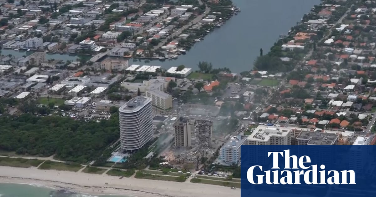 Aerial footage shows destruction after Miami building collapse – video