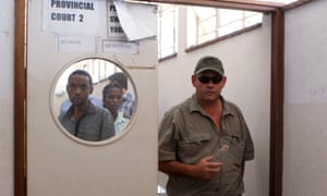 Theo Bronkhurst leaves Hwange magistrates court.
