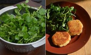 Rachel Roddy's potato, parmesan and salami cakes served with a seasonal watercress salad.