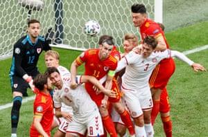 Wales defend a Danish corner.