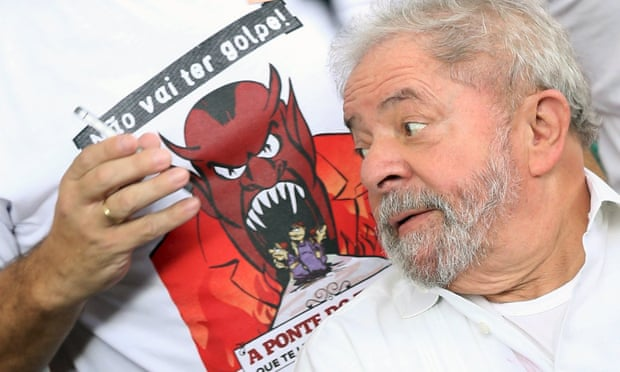 Brazil's former president Luiz Inacio Lula da Silva at a camp set up by supporters of Dilma Rousseff in Brasilia.
