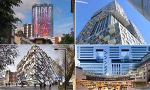 Clockwise from top left: Saffron Square, Croydon; Lincoln Plaza, Isle of Dogs; 5 Broadgate, City of London; The Diamond, University of Sheffield.