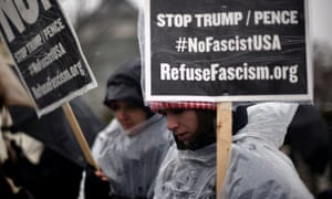 Californians protest the inauguration of Donald Trump. The tech community, which skews liberal, has spoken out against proposals such as a Muslim registry.