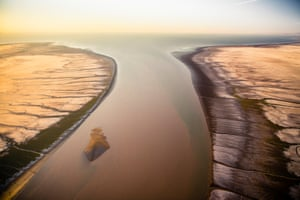 An aerial view of the mouth of the Colorado River in Mexico