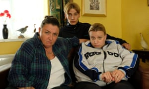 Ashley McGuire, Charlie Cooper and Daisy May Cooper in This Country.