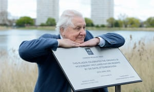 Sir David Attenborough at the Woodberry Wetlands nature reserve in East London.