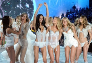 2013 Victoria's Secret Fashion Show featuring Lily Aldridge, Karlie Kloss, Adriana Lima, Doutzen Kroes, Candice Swanepoel, and Behati Prinsloo.