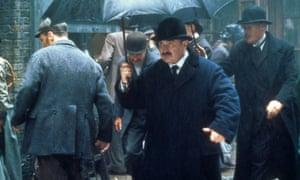 Bob Hoskins as Adolf Verloc in the film version of Joseph Conrad's The Secret Agent