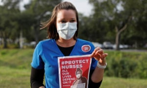 Registered Nurse Jennifer Volpe joins other nurses from three healthcare facilities to protest about how Florida is handling the Covid-19 crisis