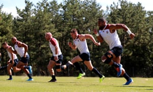 Joe Cokanasiga, Owen Farrell, Willi Heinz, Jonathan Joseph and Ben Youngs are put through their paces in training.