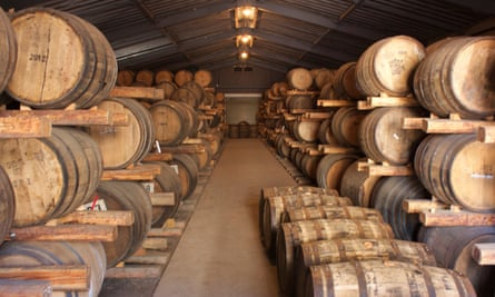 Casks of whisky at Venture Whisky's distillery in Chichibu, Japan