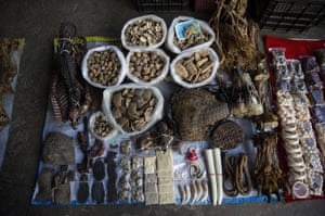 Elephant skin, a tiger claw, ivory and porcupine quills displayed at a small market stall in Mong La, Myanmar.