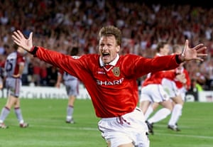 Manchester United's Teddy Sheringham celebrates after equalising against Bayern Munich in the UFFA Champions League Final. Final Score: Manchester United 2 Bayern Munich 1.