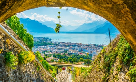 Funicular at Vevey ascending to Mont Pelerin in Switzerland.